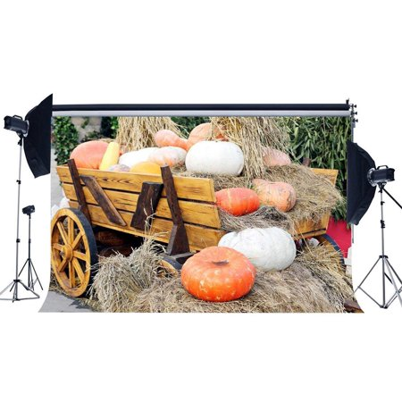 Halloween Carriage (ABPHOTO Polyester 7x5ft Autumn Harvest Backdrop Pumpkin Straw Haystack Backdrops Rustic Old Barn Farm Car Vintage Wood Carriage Photography Background for Halloween Thanks Gaving Photo Studio)