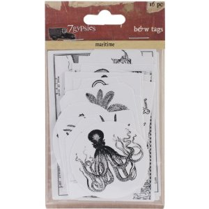7 Gypsies Maritime Cardstock Tags, Black and White, 16-Pack Multi-Colored