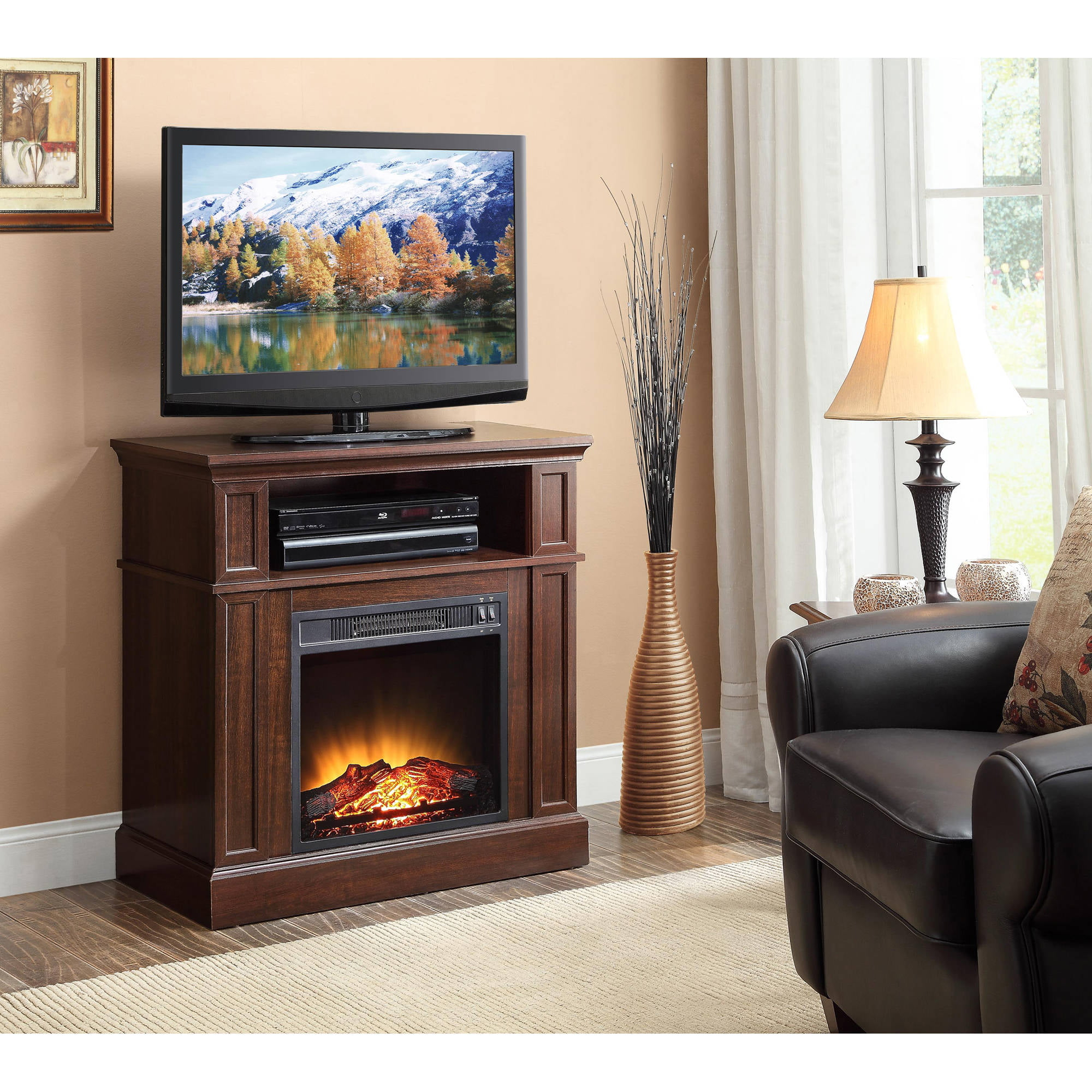 Whalen Industria Media Fireplace For Home Television Stand Fits Tvs