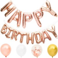 Happy Birthday Rose Gold Foil Letters with 20 Packs Balloons for Party Decorations