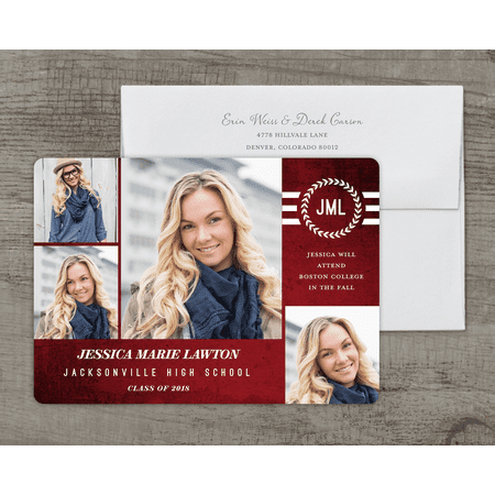 Cheap Graduation Announcements (Textured Monogram Deluxe Graduation)