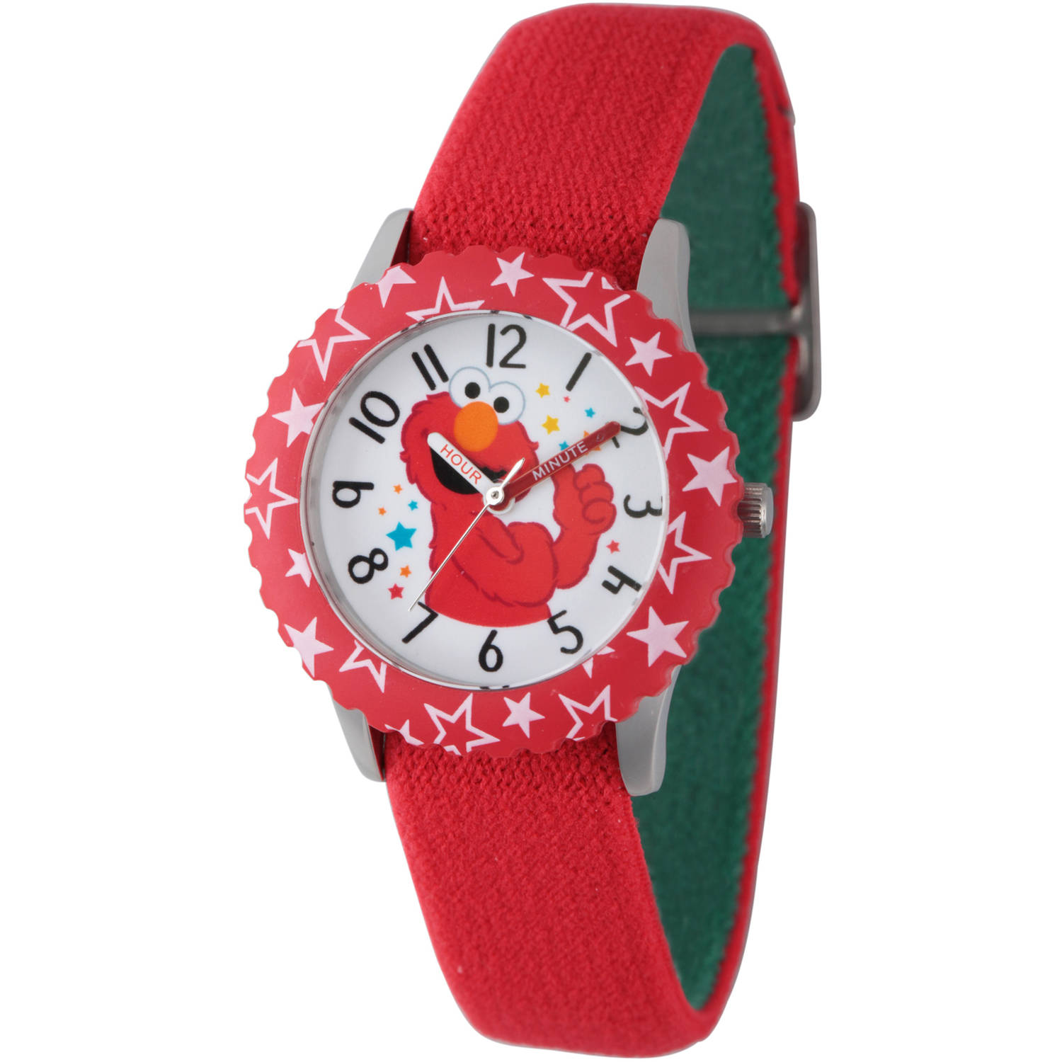 Sesame Street Elmo Stainless Steel Time Teacher Watch, Red Bezel, Reversible Red and Green Elastic Nylon Strap