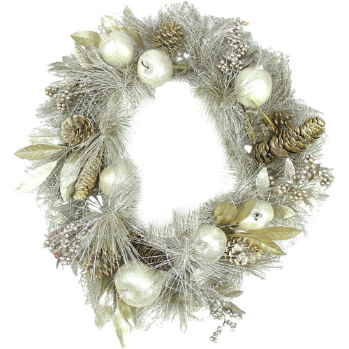 Northlight Seasonal Glitter Pomegranate Apple Pine Cone and Berry Christmas Wreath with Unlit