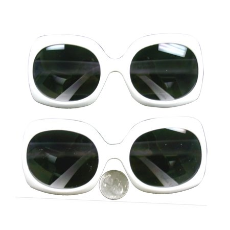 Jackie O White Rectangle Sunglasses Onassis Kennedy Mod Kurt Cobain Nirvana - Coffin Glasses