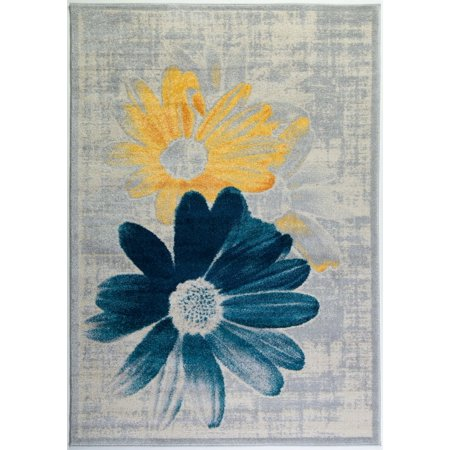 Ladole Rugs Boston Collection Contemporary Floral Pattern Area Rug Carpet in Teal Yellow, 3x5 (2
