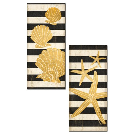 Gold Sea Shell (Tropical Black and Gold Sea Shell and Starfish Striped Panels; Coastal Decor; Two 8x18in Unframed Paper)