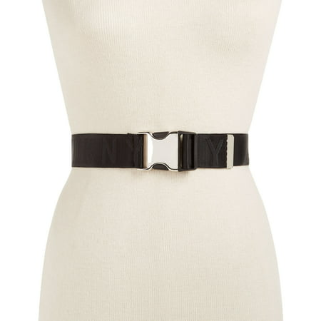 DKNY Womens Seat Belt-Buckle Logo Belt (Black, M/L)