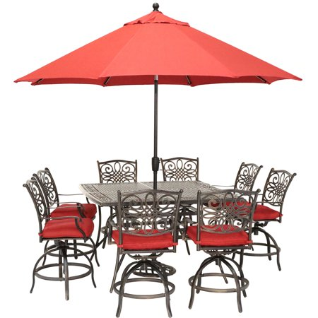 Image of Hanover Traditions 9-Piece High-Dining Set in Red with 8 Swivel Chairs, a 60 In. Square Cast-Top Table, Umbrella and Stand