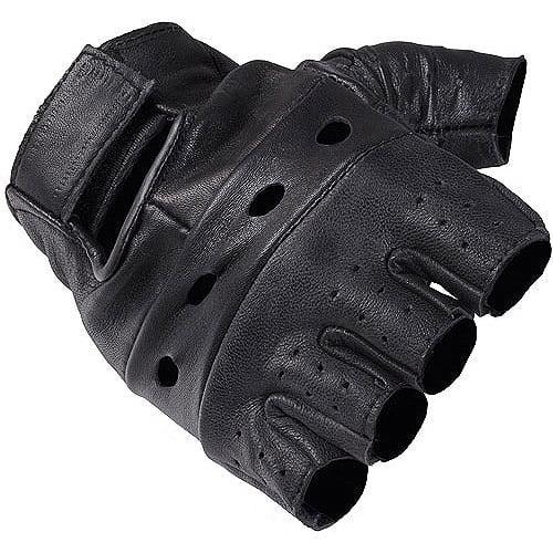 Daxx Men's Fingerless Leather Motorcycle Gloves