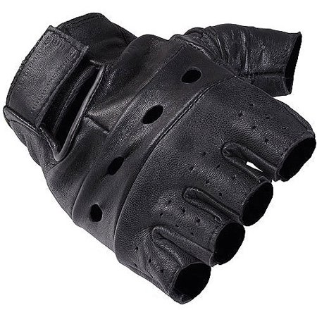 Daxx Mens Fingerless Leather Motorcycle Gloves