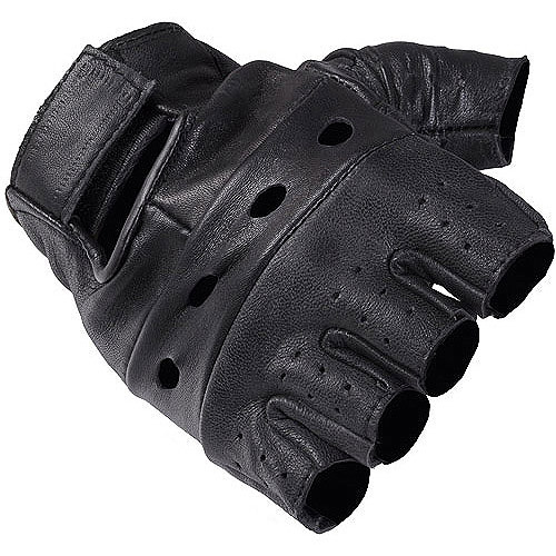 Daxx Men's Fingerless Leather Motorcycle Gloves