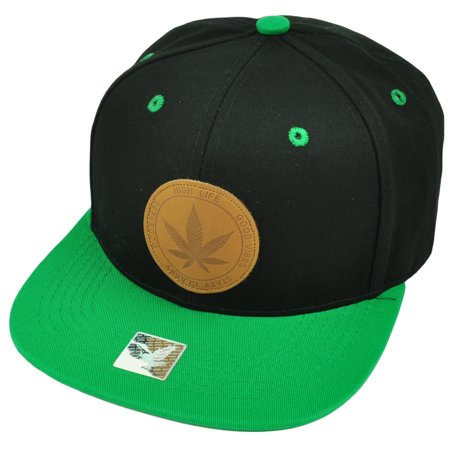 Marijuana Weed Leaf Snapback Hat Cap Black Green Flat Bill Cannabis Ganja High