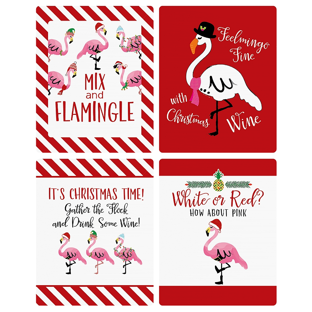 Flamingle Bells - Tropical Flamingo Christmas Wine Bottle Label ...