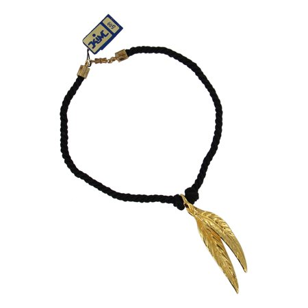 Gold Tone Long Double Leaf Nature Pendant Choker Black Cord Short Necklace 15""