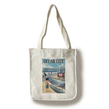 Ocean City, New Jersey - Lifeguard Stand - Lantern Press Artwork (100% Cotton Tote Bag - Reusable)