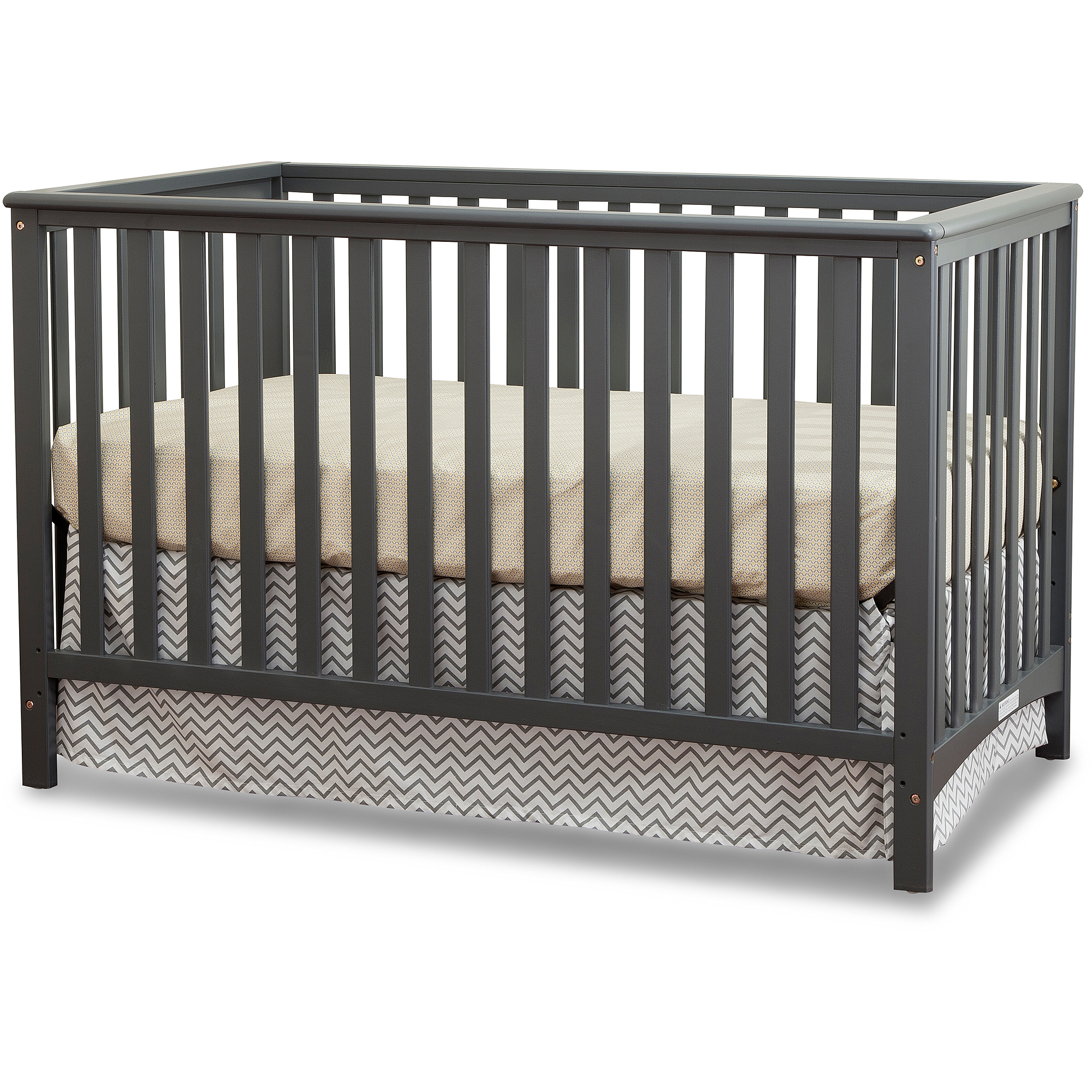 Storkcraft Hillcrest Fixed-Side Convertible Crib, Gray