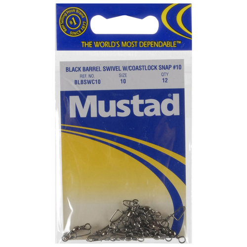 Mustad Black Barrel with Coastlock Snap, #10