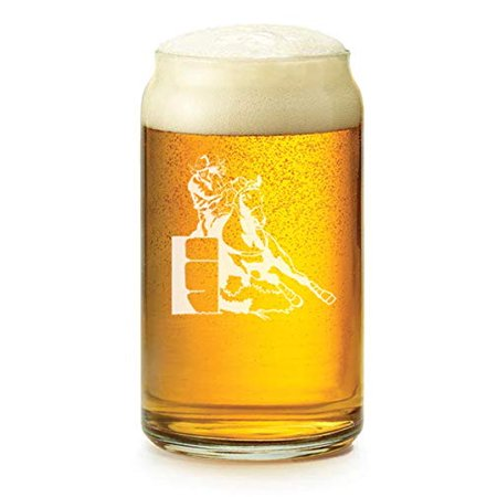 16 oz Beer Can Glass Female Barrel Racing Cowgirl