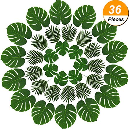 Hicarer 36 Pieces 2 Kinds Artificial Palm Leaves Faux Palm Tree Leaf Fake Monstera Tropical Leaves for Decoration, Green - Palm Tree Decorations For Party