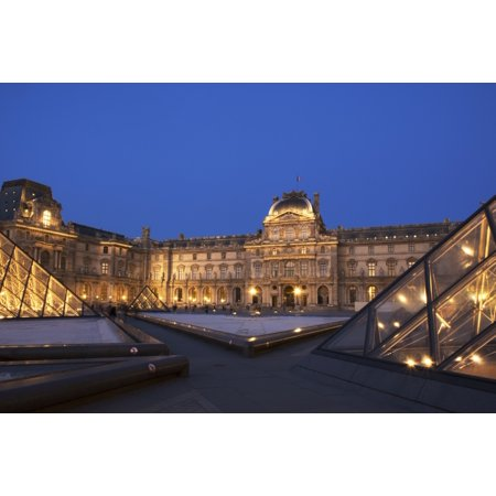 Le Louvre palace buildings and pyramids at night in golden light Paris France Stretched Canvas - Philippe Widling  Design Pics (19 x 12)