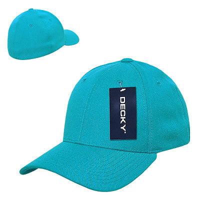 Aqua Blue Solid Blank Plain Flex Curved Baseball Ball Fit Fitted Cap Hat - S/M