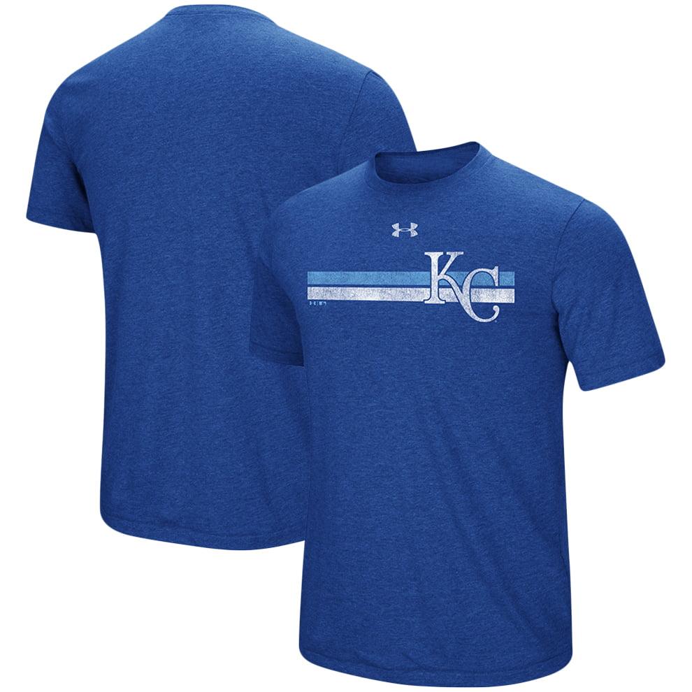 Kansas City Royals Under Armour Stripe Logo Tri-Blend T-Shirt - Heathered Royal