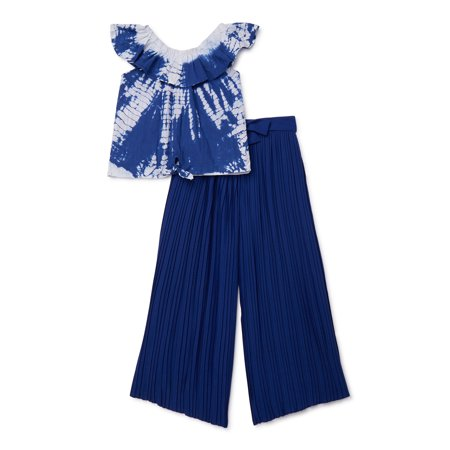 Star Ride Girls Tie Dye Ruffle Tie Front Top and Palazzo Pant, 2-Piece Outfit Set, Sizes 4-16