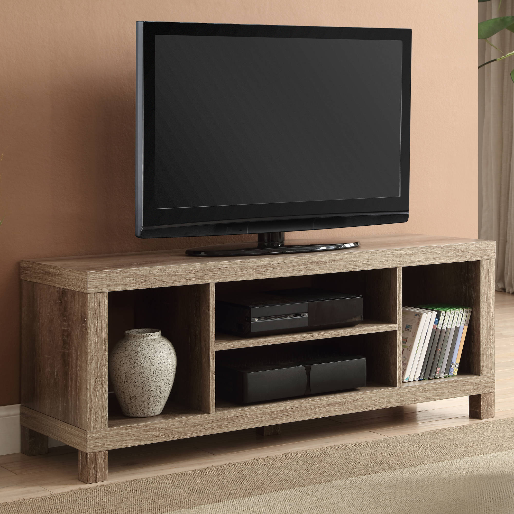 tv stand table for flat screens living room furniture with shelves wood weathere ebay. Black Bedroom Furniture Sets. Home Design Ideas