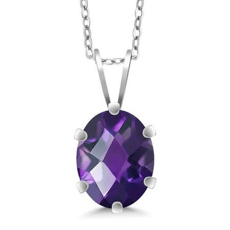 - 1.60 Ct Oval Checkerboard Shape Purple Amethyst Sterling Silver Pendant
