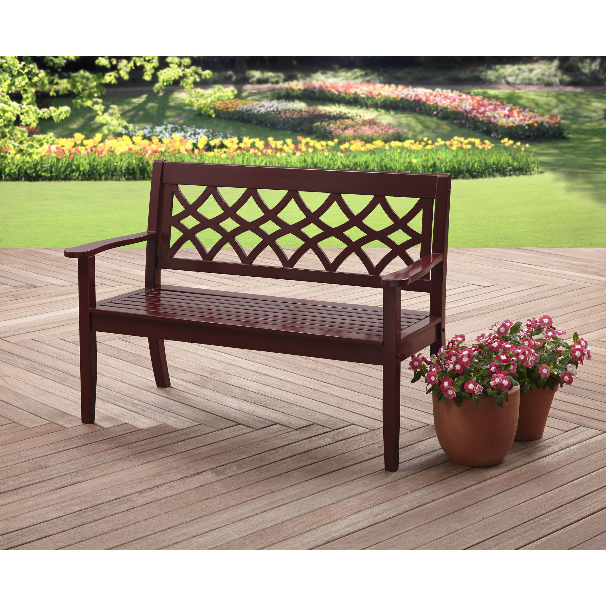 Better Homes and Gardens 4' Bench, Dark Red