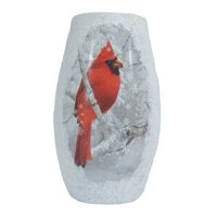 "Stony Creek - Frosted Glass - 7"" Lighted Vase - Cardinal in Winter Snow Scene"