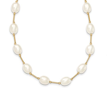 Roy Rose Jewelry 14K Yellow Gold Bead and 7-8mm White Freshwater Cultured Pearl Necklace ~ length: 18 inches