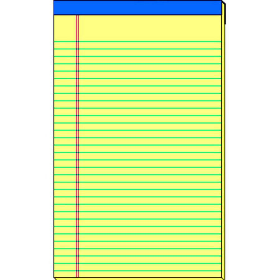 School Smart Standard Legal Pad, 15-Pound Sulphite, 50 Sheets, Canary, Pack of 12, Multiple Sizes