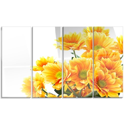 Design Art 'Orange Flowers Chrysanthemum' 4 Piece Photographic Print on Canvas Set