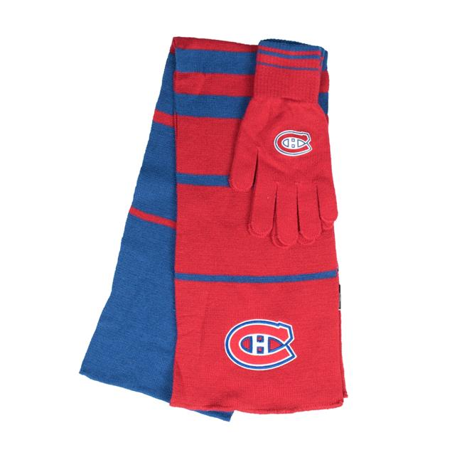 Little Earth 500657-CAND NHL Scarf Glove Gift Set Stripe, Montreal Canadiens by