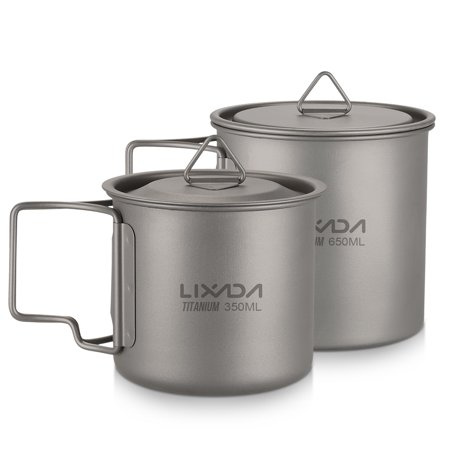 Lixada Ultralight Titanium Cup Outdoor Portable 2PCS Cup Set 350ml 650ml Camping Picnic Water Cup Mug with Foldable