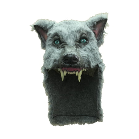 Grey Big Bad Wolf Helmet Mask Costume - Half Wolf Mask