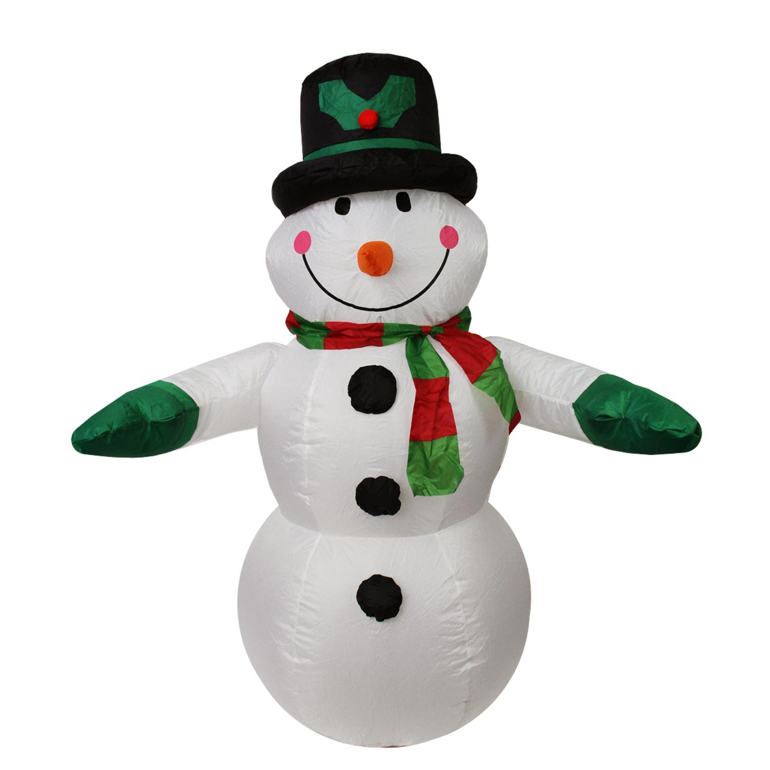 Lb International 4 ft. Inflatable Lighted Snowman with Top Hat Christmas Yard Display - 32275078