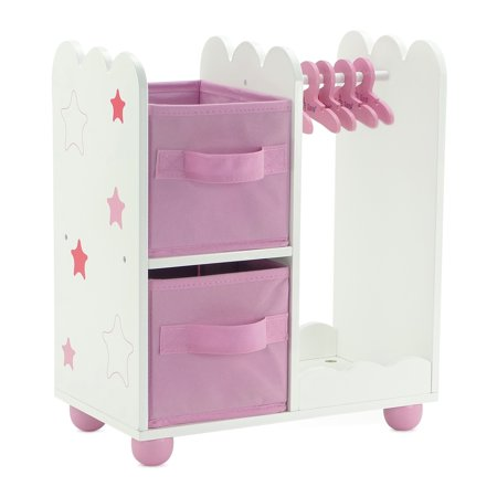 Emily Rose 14 Inch Doll Furniture | Pink Doll Armoire/Closet with Star Detail Comes with 5 Doll Clothes Hangers | Fits 14