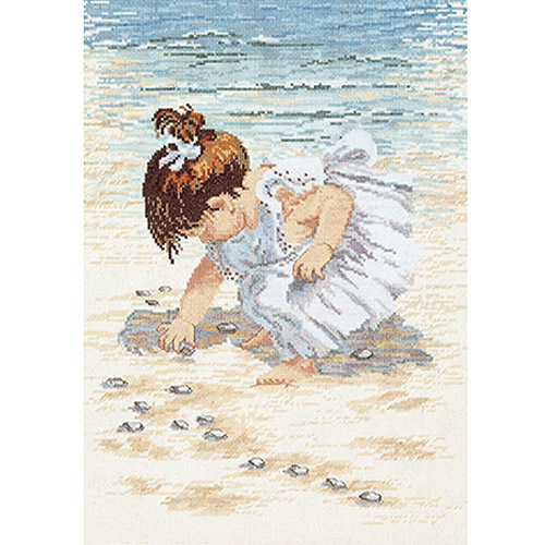 """Janlynn Collecting Shells Counted Cross Stitch Kit, 12"""" x 16"""", 14 Count"""