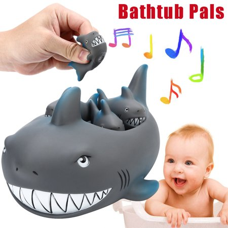 Shrilling Rubber Cute Shark Family Bathtub Pals Floating Bath Tub Toy For Kids (Shark Toys Kids)