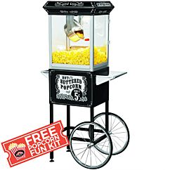 Full Size Carnival Style 8 oz Popcorn Maker Machine with cart, Black and Silver