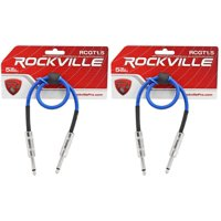 """2 Rockville RCGT1.5BL 1.5'  1/4"""" TS to 1/4'' TS Guitar/Instrument Cable"""
