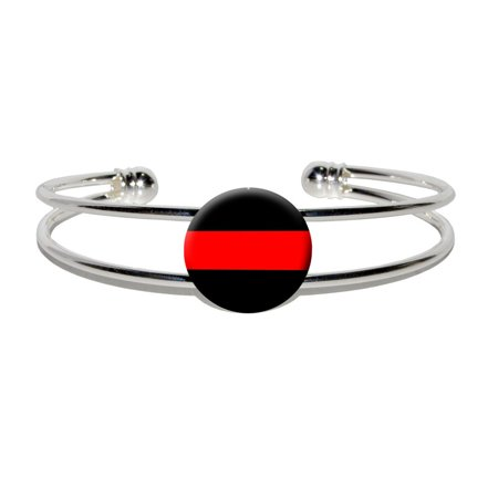 Thin Red Line Firefighters Silver Plated Metal Cuff - Firefighter Bracelets