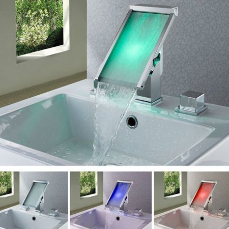 Cascada Color Changing LED Waterfall Widespread Bathroom Sink Faucet (Chrome (Color Changing Led Waterfall Widespread Bathroom Sink Faucet)