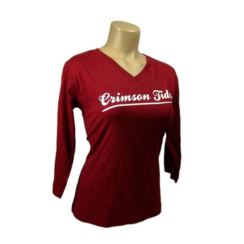 Alabama Crimson Tide Official NCAA  Red Long Sleeve Classic Tee by Glitter Gear