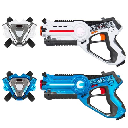 Best Choice Products Set of 2 Multiplayer Laser Tag Blaster Toy Guns and Vests w/ Sound Effects, Backwards Compatible - Blue/White - Kids Toy Guns