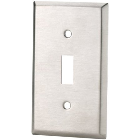 Eaton 93071 Standard Size Stainless Steel 1-Gang Toggle Switch Wallplate, Satin Brush Finish
