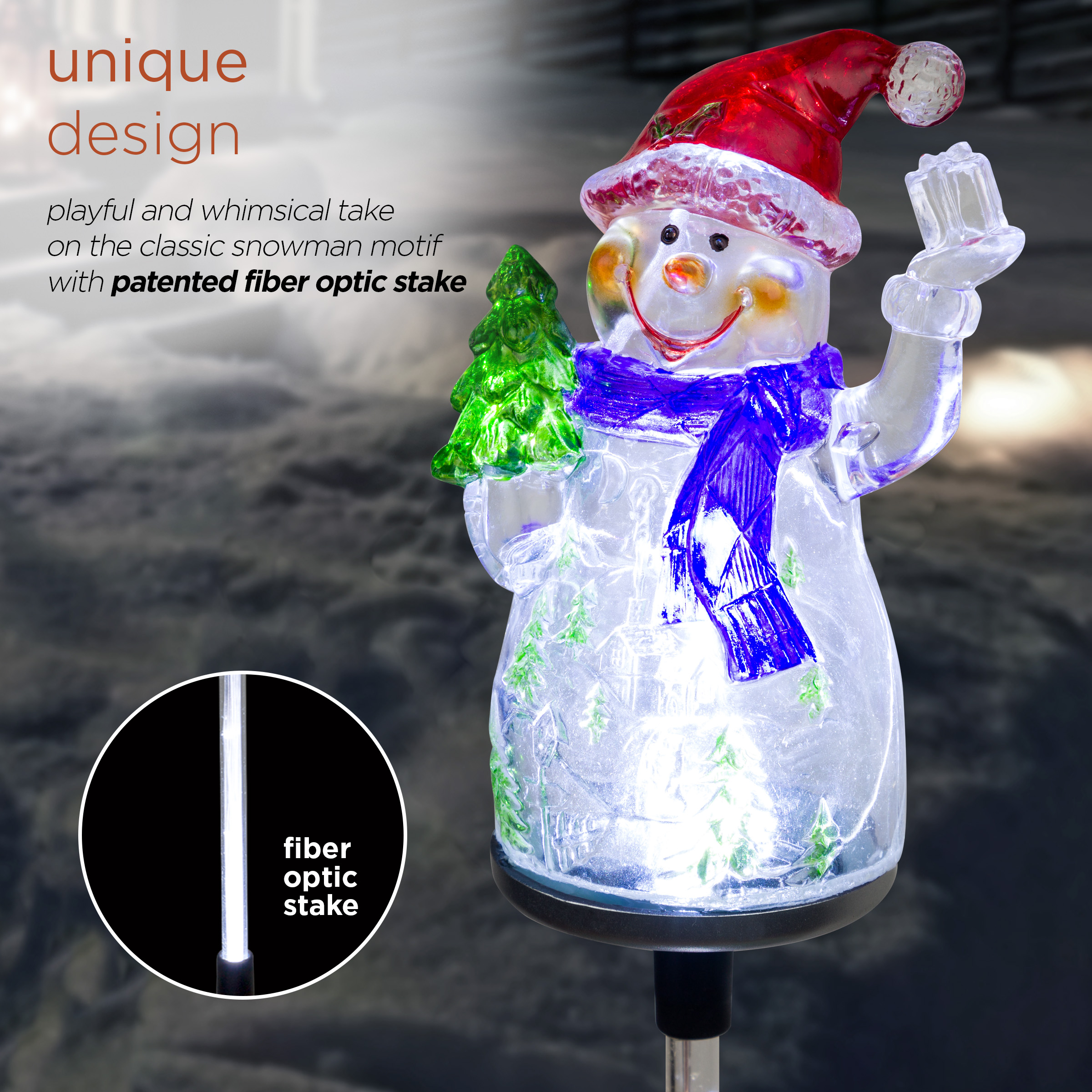 Alpine 34 Snowman Solar Powered Glass Garden Stakes 2 Pieces Walmart Com Walmart Com