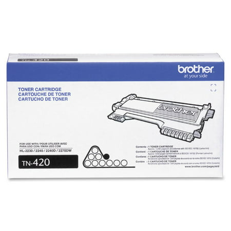 Brother Genuine Toner Cartridge, TN420, Replacement Black Toner, Page Yield Up To 1,200 (Brother Hl 2270dw Starter Cartridge Toner Refill Kit)